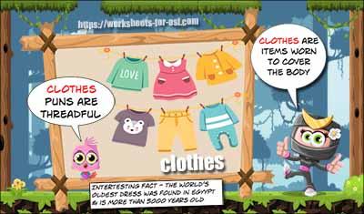 homophone activities clothes
