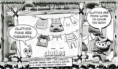 homophone worksheet clothes