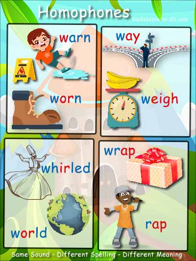 Homophone examples beginning with w