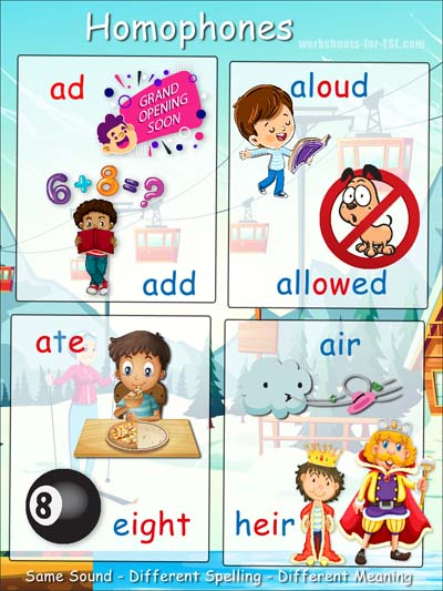 Homophone examples beginning with a