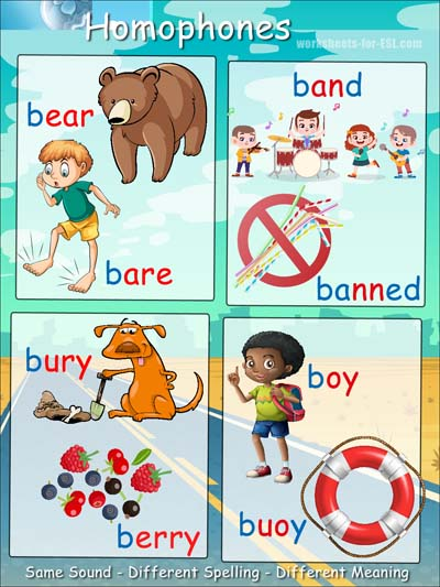 Homophone examples beginning with b