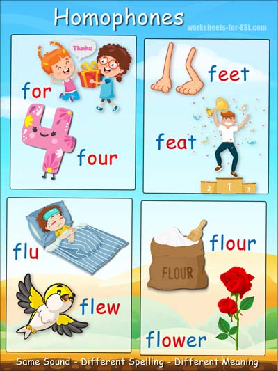Homophone examples beginning with f