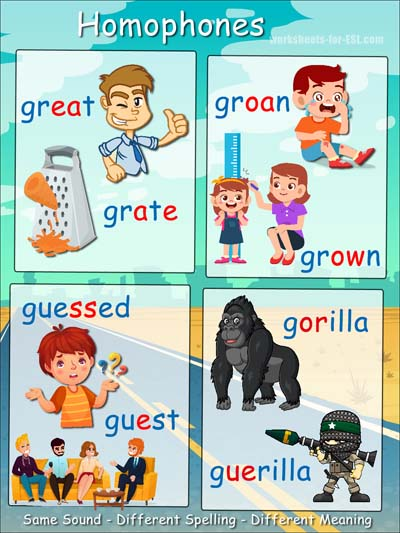 Homophone examples beginning with g