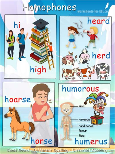 Homophone examples beginning with h