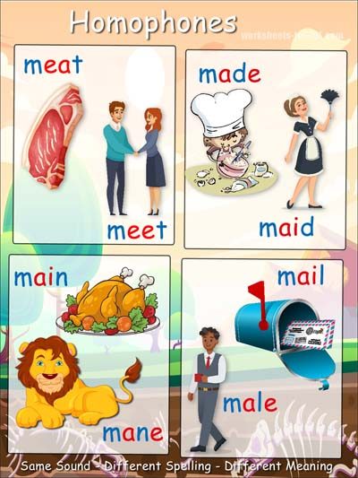 Homophone examples beginning with m