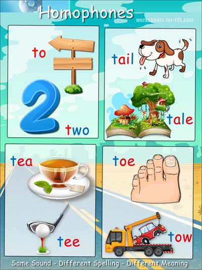 Homophone examples beginning with t